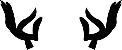 Представление йоги вручает силуэт Стоковые Изображения