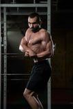 Представление комода мышц молодого культуриста изгибая бортовое Стоковая Фотография RF