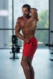 Представление комода мышц молодого культуриста изгибая бортовое Стоковые Фотографии RF