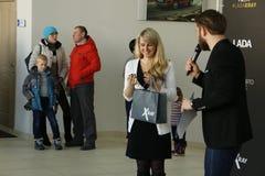 Представление нового русского РЕНТГЕНОВСКОГО СНИМКА Lada автомобиля который был представлен 14-ого февраля 2016 в выставочном зал Стоковая Фотография RF