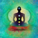 Представление лотоса йоги. Padmasana с покрашенными пунктами chakra. Стоковое Фото