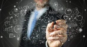 Представление проекта рукописи чертежа бизнесмена с ручкой Стоковая Фотография RF