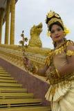 Представление танцора Apsara в виске Стоковые Фото