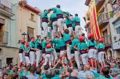 Представление Castells в Torredembarra, Каталонии, Испании Стоковое Фото
