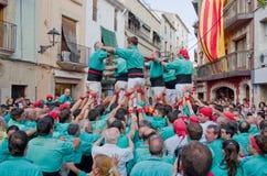Представление Castells в Torredembarra, Каталонии, Испании Стоковые Изображения RF