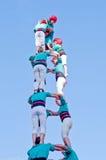 Представление Castells в Torredembarra, Каталонии, Испании Стоковые Изображения