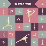 23 представлений йоги Стоковая Фотография