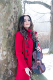 Представления девушки с скрипкой Стоковые Изображения