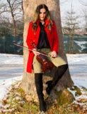 Представления девушки с скрипкой Стоковые Фото