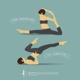 Представления йоги в двух позиционное вектор Стоковые Фото