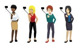 Представления элегантной женщины Manga установили 5 иллюстрация вектора