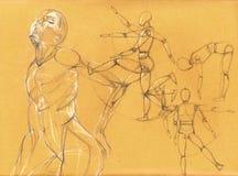 Представления людей в карандаш Стоковое фото RF