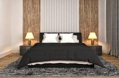 представленная молния окружающей спальни 3d нутряная иллюстрация 3d Стоковые Изображения