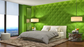 представленная молния окружающей спальни 3d нутряная иллюстрация 3d Стоковая Фотография RF