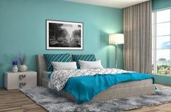 представленная молния окружающей спальни 3d нутряная иллюстрация 3d Стоковое Фото