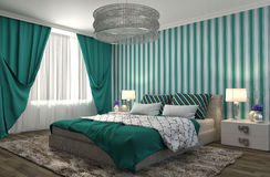 представленная молния окружающей спальни 3d нутряная иллюстрация 3d Стоковая Фотография