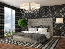 представленная молния окружающей спальни 3d нутряная иллюстрация 3d иллюстрация штока