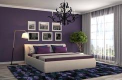 представленная молния окружающей спальни 3d нутряная иллюстрация 3d Стоковые Фотографии RF