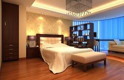 представленная молния окружающей спальни 3d нутряная Стоковая Фотография
