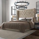 представленная молния окружающей спальни 3d нутряная Стоковые Изображения