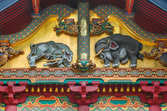 Представленная древесина слонов высекая на святыне Nikko Toshogu в Японии стоковые фото