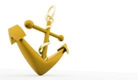 Представленный анкер золота изолированным Стоковые Фотографии RF