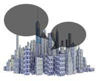 Представленный горизонт города 3d с воздушными шарами текста бесплатная иллюстрация