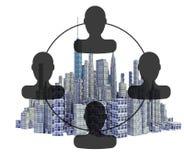 Представленный горизонт города 3d с organigram бесплатная иллюстрация
