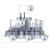 Представленный горизонт города 3d с organigram иллюстрация вектора