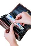 представляет счет бумажник евро Стоковое Фото