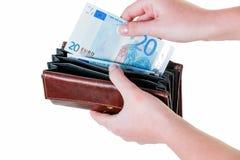 представляет счет бумажник евро Стоковые Изображения