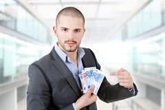 представляет счет вентилятор доллара мальчика держа 100 дег одной человека Стоковое Фото