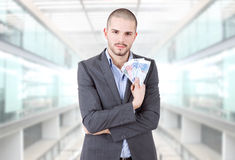 представляет счет вентилятор доллара мальчика держа 100 дег одной человека Стоковые Фото