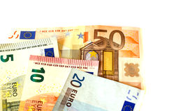 Представляет счет номинальная стоимость 5 евро EUR 5, 10 евро EUR 10, 20 евро EUR 20 и 50 евро EUR 50 Стоковые Фотографии RF