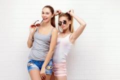 Представлять 2 друзей уклад жизни самомоднейший 2 стильных сексуальных лучшего друга девушек битника готового для партии детеныши Стоковое Изображение RF