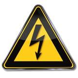 Предупреждающая сила и молния иллюстрация штока