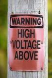 Предупреждающее высокое напряжение Стоковые Изображения RF