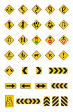 Предупреждающие желтые дорожные знаки, установленные знаки уличного движения Стоковое Фото