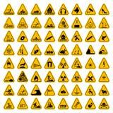 Предупреждающие установленные знаки треугольника опасности также вектор иллюстрации притяжки corel Желтые символы изолированные н Стоковые Фото