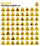 Предупреждающие установленные знаки треугольника опасности также вектор иллюстрации притяжки corel Желтые символы на белизне Стоковая Фотография