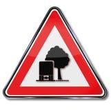 Предупреждающий бульвар деревьев как препятствие Стоковое Изображение
