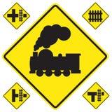 Предупреждающий знак поезда Стоковая Фотография RF