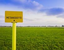 Предупреждающий знак трубопровода природного газа Стоковые Изображения