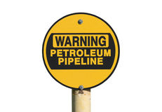 Предупреждающий изолированный знак трубопровода нефти Стоковое Изображение RF