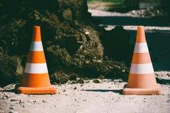 Предупреждающий конец конуса движения 2 вверх Стоковое Фото