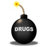 Предупреждение лекарств показывает бомбу и опасность кокаина Стоковое фото RF