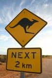 предупреждение знака кенгуруа Стоковое фото RF