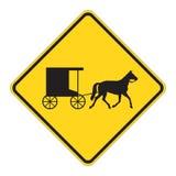 предупреждение дорожного знака лошади притяжки Стоковые Изображения RF