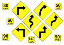 Предупредительные знаки кривой Стоковое фото RF