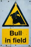 Предупредительный знак быка в поле Стоковое фото RF